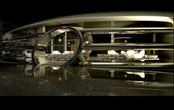 """The Interior of the restaurant """"Mercedes-Benz"""" for the motor show"""